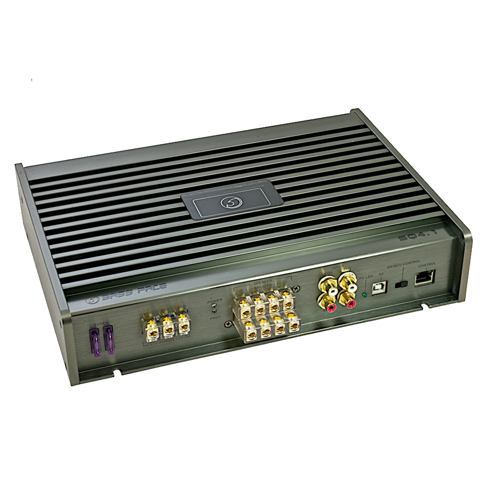 SQ4.1 Class A/B 4/3/2 Channel Bridgeable Stereo 12v Power Amplifier With DSP & PC Software Control 1000w RMS